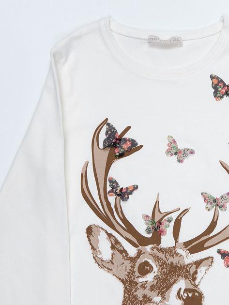 Ecru bluzka bawełniana z nadrukiem jelenia i motylkami                              zdj.                              2
