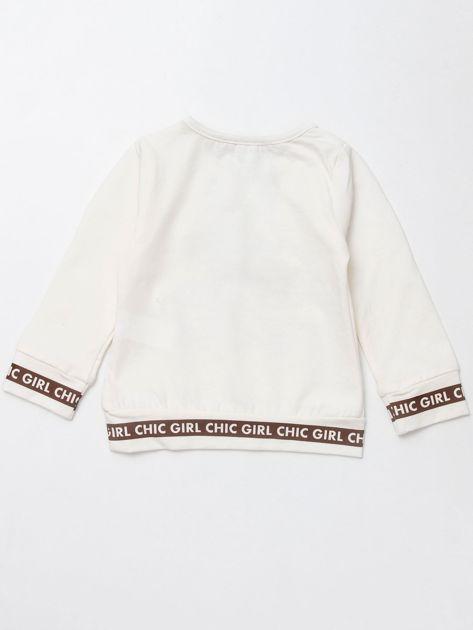 Ecru bluzka dla dziewczynki z perełkami                              zdj.                              3