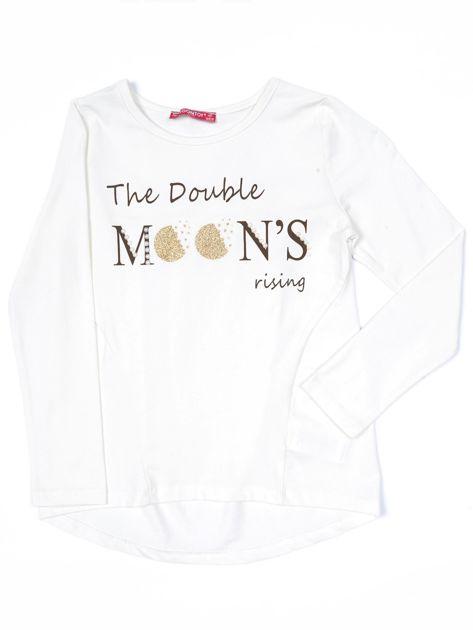 Ecru bluzka dla dziewczynki z tekstowym nadrukiem                              zdj.                              1