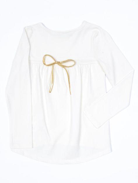 Ecru bluzka dla dziewczynki z tekstowym nadrukiem                              zdj.                              2