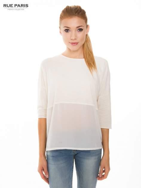 Ecru bluzka oversize z siateczkowym dołem                                  zdj.                                  1