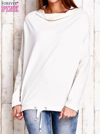 Ecru bluzka oversize z troczkami                                  zdj.                                  1