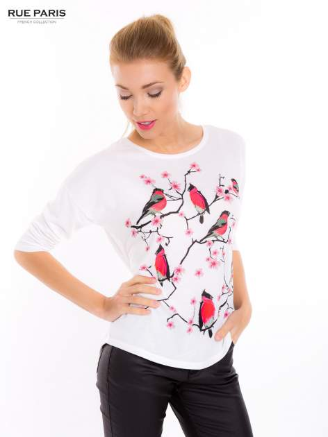 Ecru bluzka z floral printem                                  zdj.                                  5