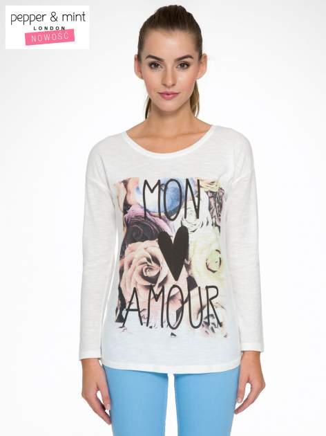 Ecru bluzka z motywem kwiatowym i napisem MON AMOUR