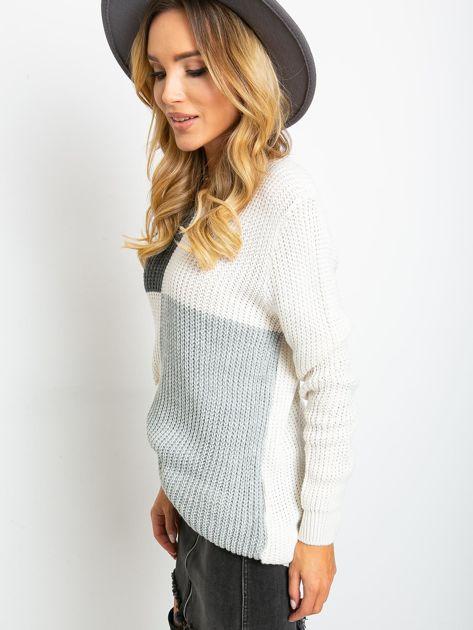 Ecru-ciemnoszary sweter Latina                              zdj.                              3