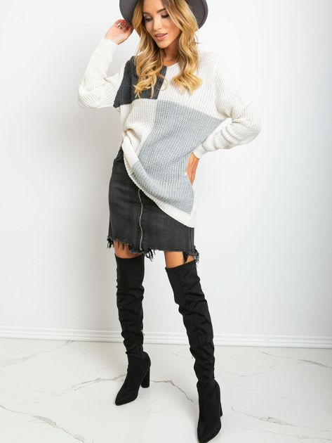 Ecru-ciemnoszary sweter Latina                              zdj.                              4