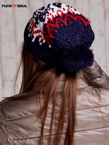 Ecru czapka w norweskie wzory FUNK N SOUL                                  zdj.                                  3