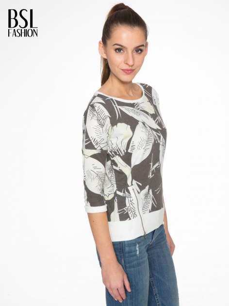 Ecru-czarna bluza z nadrukiem floral print i suwakami                                  zdj.                                  3
