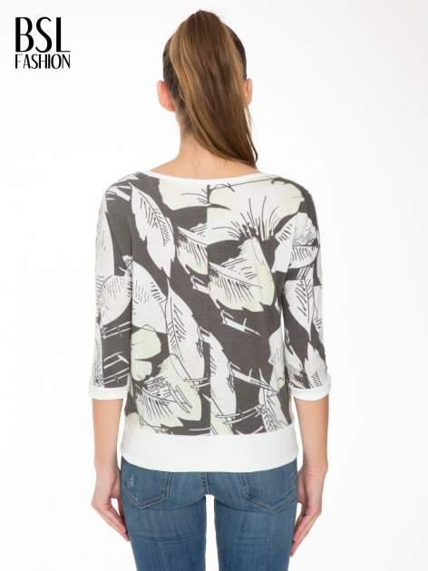 Ecru-czarna bluza z nadrukiem floral print i suwakami                                  zdj.                                  4