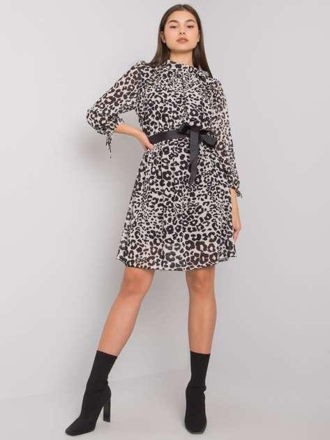 Ecru-czarna sukienka z printami Evanston OCH BELLA