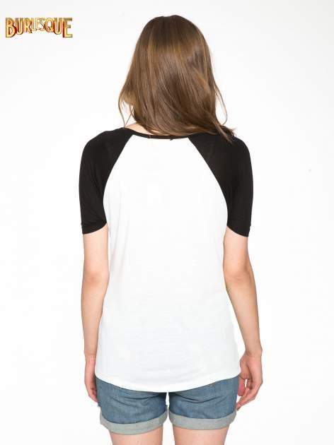 Ecru-czarny t-shirt z nadrukiem NEW YORK CITY 1983                                  zdj.                                  4