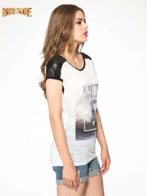 Ecru-czarny t-shirt z nadrukiem wieży Eiffla                                   zdj.                                  3