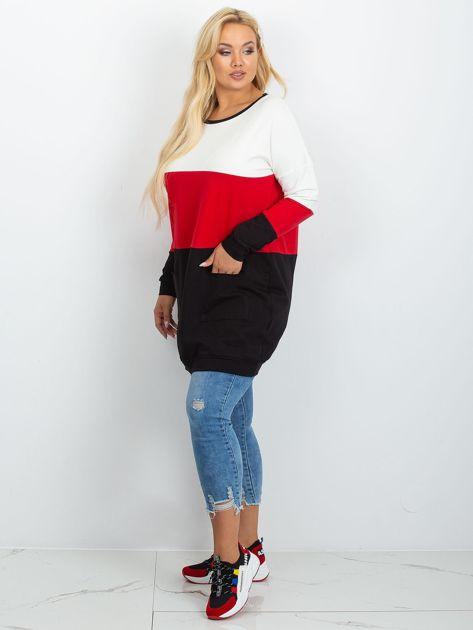 Ecru-czerwona tunika plus size Bease                              zdj.                              4
