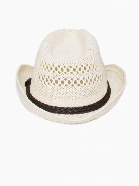 Ecru damski kapelusz kowbojski z ciemną plecionką                                  zdj.                                  5
