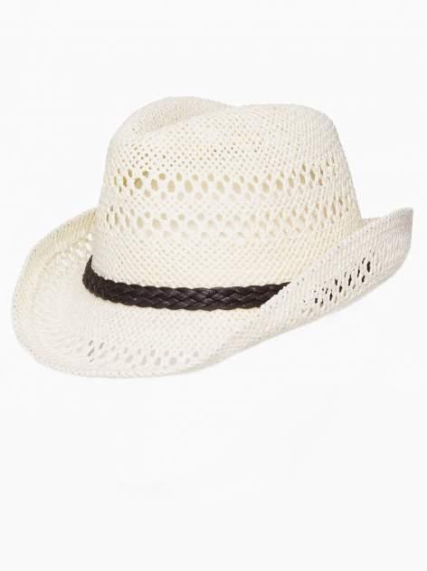 Ecru damski kapelusz kowbojski z ciemną plecionką                                  zdj.                                  7