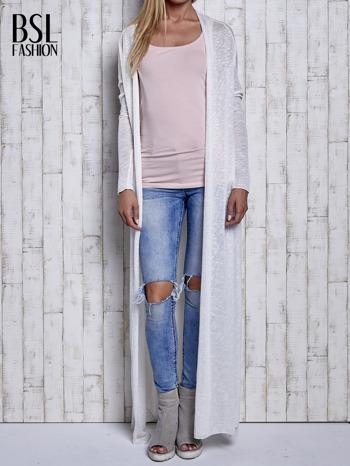 Ecru długi sweter wzór melanżowy                                  zdj.                                  2
