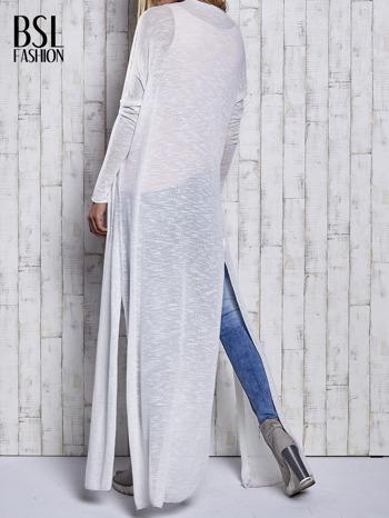 Ecru długi sweter wzór melanżowy                                  zdj.                                  5