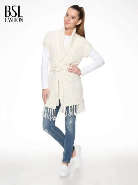 Ecru dziergany długi sweter kardigan z frędzlami na dole                                  zdj.                                  2