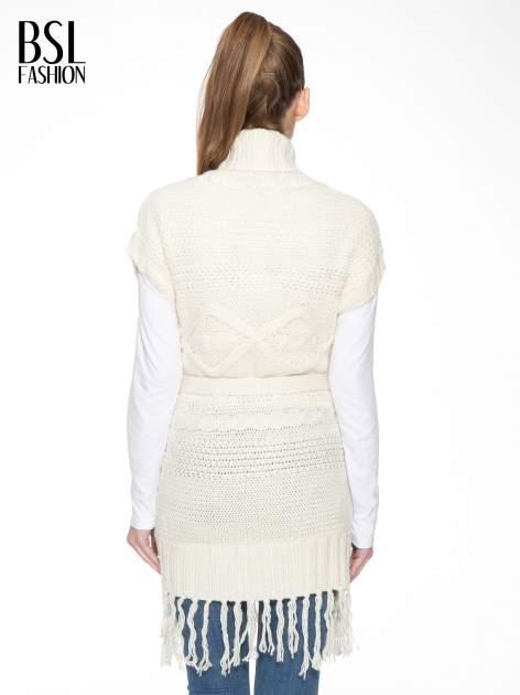 Ecru dziergany długi sweter kardigan z frędzlami na dole                                  zdj.                                  4