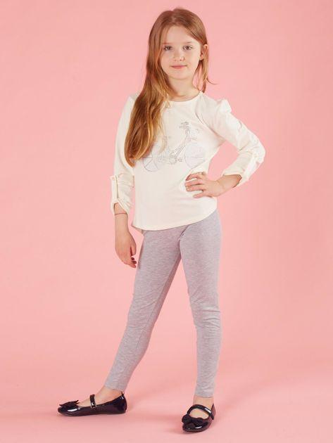 Ecru dziewczęca bluzka z aplikacją                              zdj.                              4
