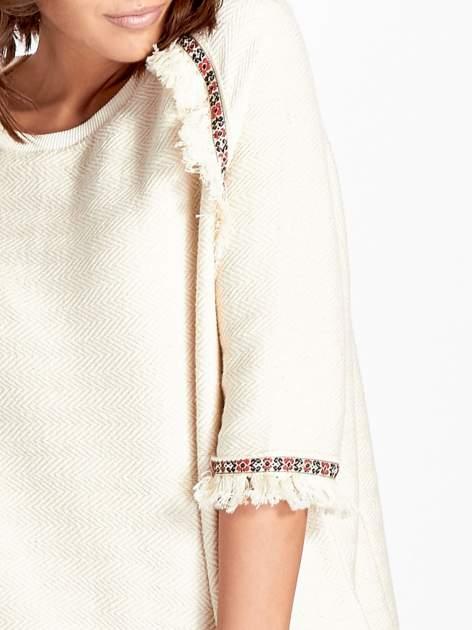 Ecru fakturowana bluza w stylu boho                                  zdj.                                  5