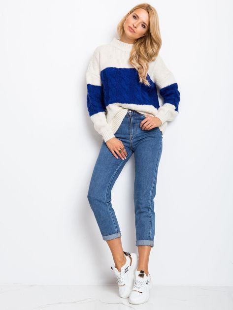 Ecru-kobaltowy sweter Ruffle                              zdj.                              4
