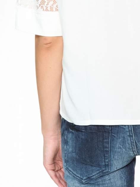 Ecru koszula z koronką i rękawami do łokcia                                  zdj.                                  11
