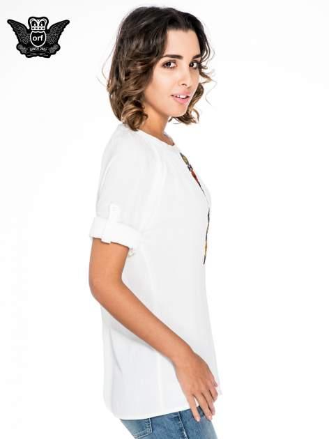 Ecru koszula z marszczonym dekoltem i wzorzystą wstawką w stylu hippie                                  zdj.                                  5