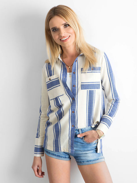 Ecru-niebieska koszula w pasy                              zdj.                              1