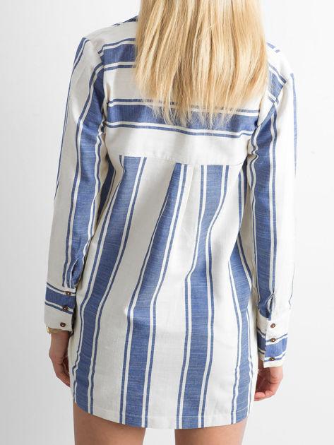 Ecru-niebieska koszula w pasy                              zdj.                              2