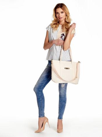Ecru pleciona torba shopper bag ze złotym detalem                                  zdj.                                  6