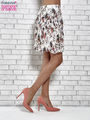 Ecru plisowana spódnica w kwiaty                                  zdj.                                  4