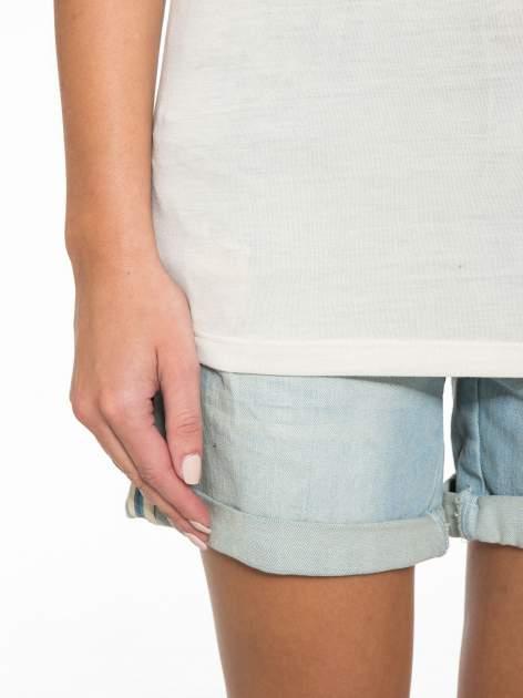Ecru półtransparentna bluzka z łódkowym dekoltem i rękawami 3/4                                  zdj.                                  8