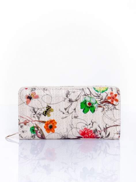 Ecru portfel z egzotycznym nadrukiem
