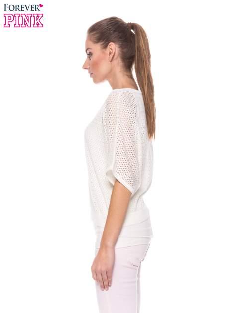 Ecru siateczkowy sweter oversize                                  zdj.                                  2