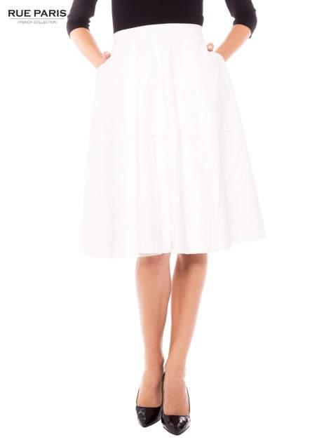 Ecru skórzana spódnica midi szyta z półkola                                  zdj.                                  1