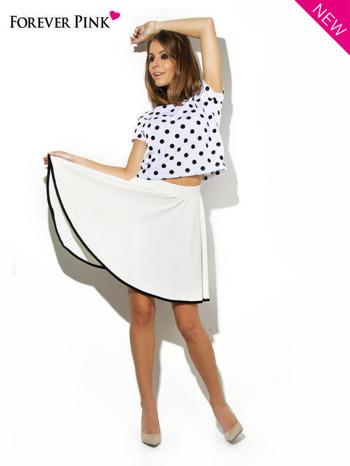 Ecru spódnica szyta z koła z kontrastową lamówką na dole                                  zdj.                                  2