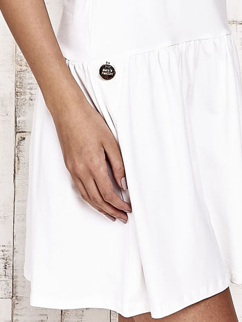 Ecru sukienka dresowa z kokardą z tiulu                                  zdj.                                  6