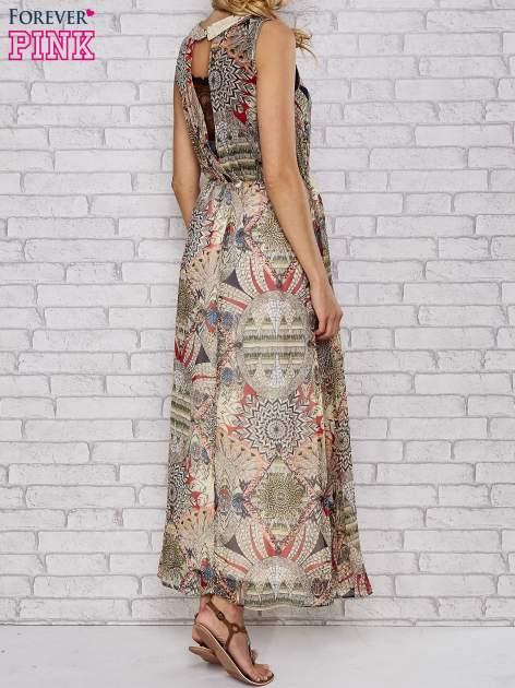 Ecru sukienka maxi w ornamentowe wzory z koronką z tyłu                                  zdj.                                  5