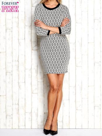 Ecru sukienka w geometryczne wzory                                  zdj.                                  5