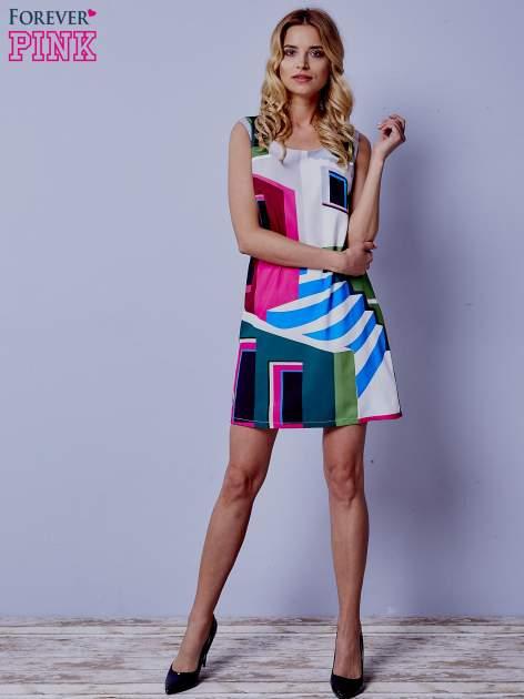 Ecru sukienka w kolorowe geometryczne wzory                                  zdj.                                  6