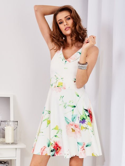 Ecru sukienka w kolorowe kwiaty                              zdj.                              1