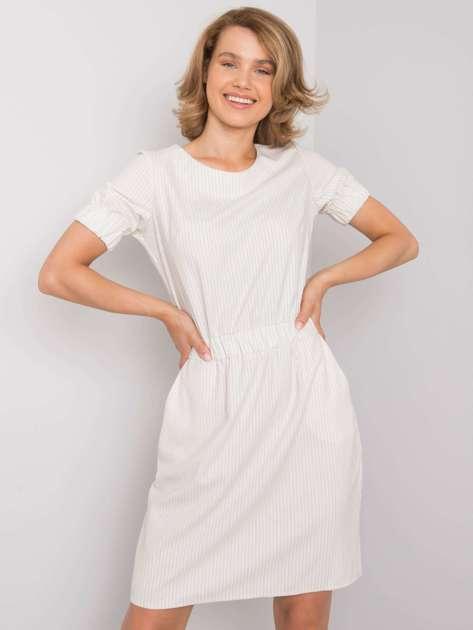 Ecru sukienka w paski Merline