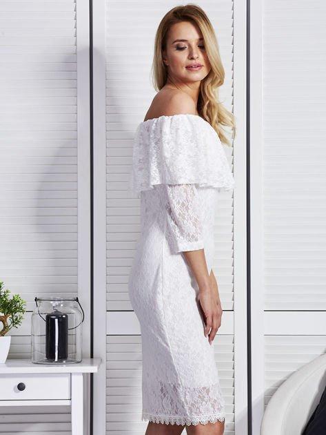 Ecru sukienka z hiszpańskim dekoltem                              zdj.                              5