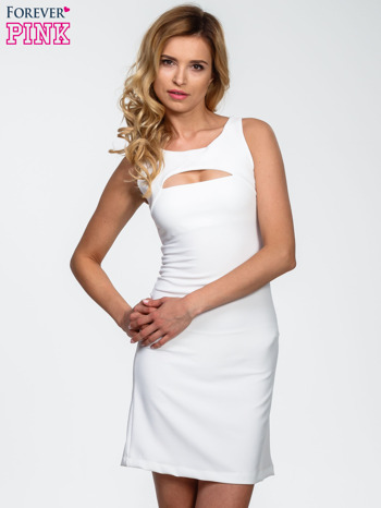 Ecru sukienka z wycięciem na dekolcie                                  zdj.                                  1