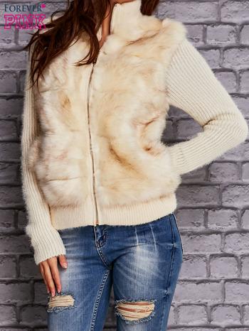 Ecru sweter na suwak z futerkiem                              zdj.                              1