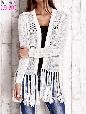 Ecru sweter w stylu boho                                  zdj.                                  1