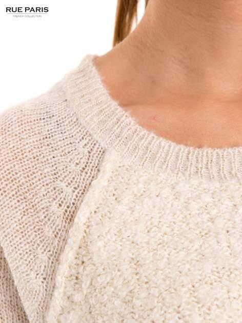 Ecru sweter z dłuższym tyłem                                  zdj.                                  6