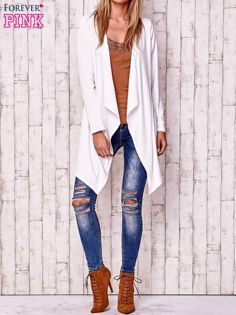 Ecru sweter z kaskadowym dekoltem                                  zdj.                                  2