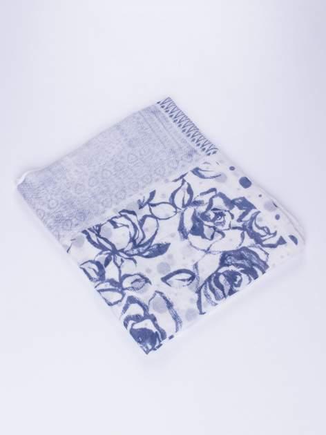 Ecru szal w orientalny wzór, kropki i kwiaty                                  zdj.                                  3